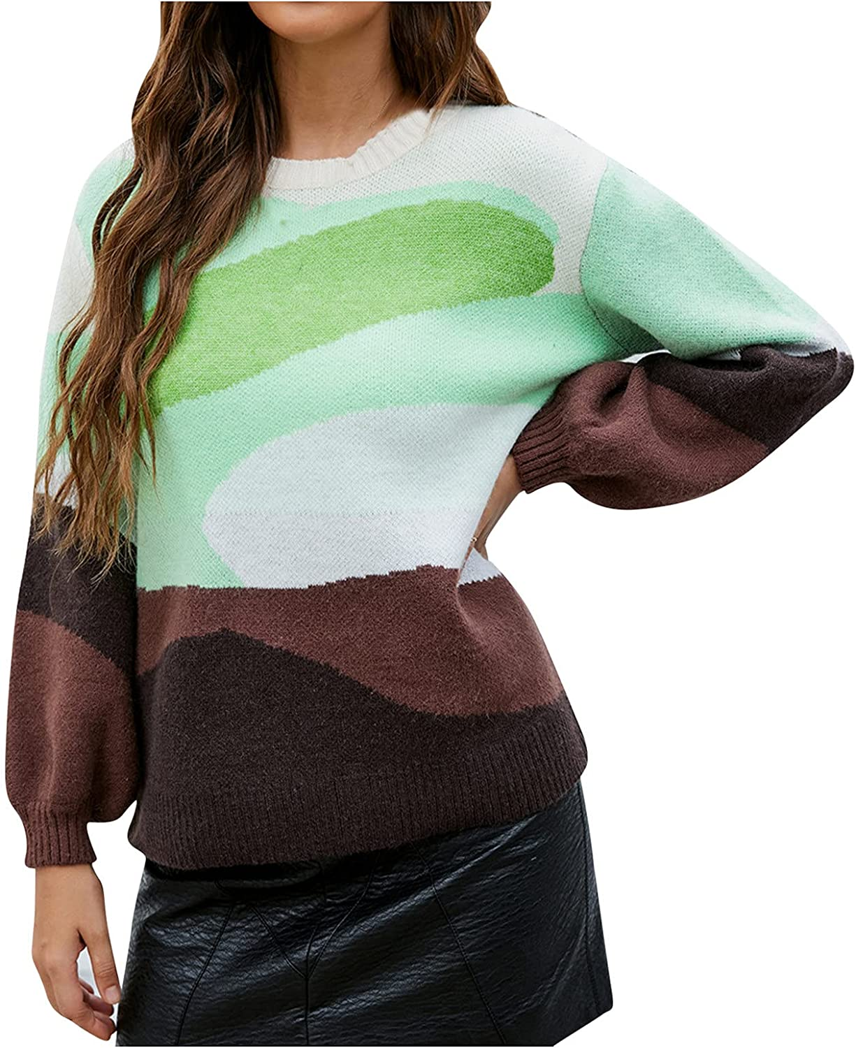 Women's Color Block Sweater Long Sleeve Casual Knitted Jumper Loose Pullover Sweatshirts Tops