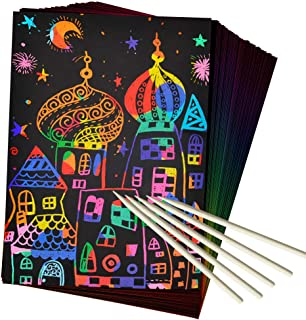 ZMLM Scratch Art Set, 50 Piece Rainbow Magic Scratch Paper for Kids Black Scratch Off Art Notes Boards with 5 Wooden Stylus for Christmas Party Birthday Game