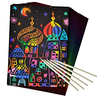 ZMLM Scratch Paper Art Set, 50 Piece Rainbow Magic Scratch Paper for Kids Black Scratch it Off Art Crafts Notes Boards Sheet with 5 Wooden Stylus for Easter Party GameChristmas Birthday Gift