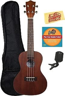 Lanikai LU-21C Concert Ukulele Bundle with Gig Bag, Clip-On Tuner, Austin Bazaar Instructional DVD, and Polishing Cloth