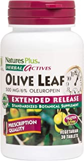 NaturesPlus Herbal Actives Olive Leaf, Extended Release - 500 mg, 6% Oleuropein - 30 Vegan Tablets - Blood Pressure Suppor...