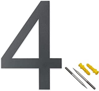 Lukadria XXL huisnummer 4 - roestvrij 2D-getal voor de huismuur - weerbestendig huisnummer van roestvrij staal V2A - 30 cm...