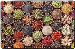 Blived Alfombra de baño Alfombra,Hierbas y Especias Coloridas Cardamomo Pimienta Chile Jengibre Eneldo Cocina Natural Alfombra de baño 75cmx45cm