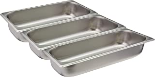Tiger Chef Third Size Stainless Steel Steam Table Water Pan, Food Pan For Food Warmer Buffet Server for Parties, Restaurants, Catering Supplies (3, Third Size)