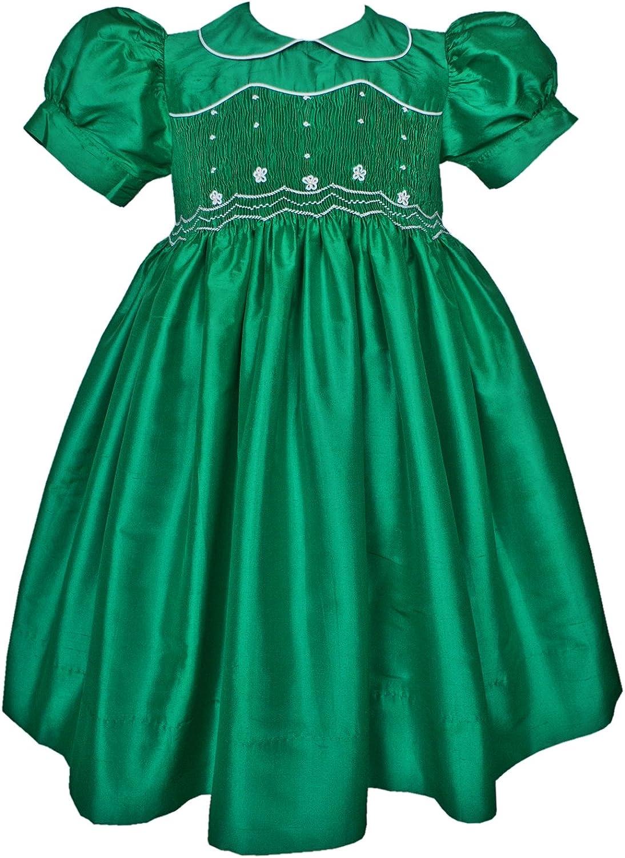Emerald Green Mardi Gras Flower Girl Silk Smocked Dress