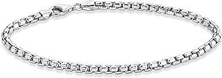 Miabella Solid 925 Sterling Silver Italian 3.5mm Square Rolo Link Round Box Chain Bracelet for Women Men, 7, 7.5, 8, 8.5, ...