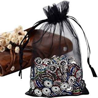 PH PandaHall 100PCS 4x6 Inches Black Organza Gift Bags with Drawstring Candy Bags Jewelry Pouches for Baby Shower, Wedding, Birthday, Party, Christmas