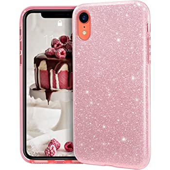 "MATEPROX iPhone XR case,Bling Sparkle Cute Girls Women Protective Case for iPhone XR 6.1"" (Pink)"