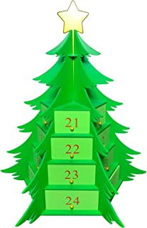 Poker Weight 3D Christmas Tree Advent Calendar - Countdown to Christmas - 24 Triangular Drawers - 360 Degrees!