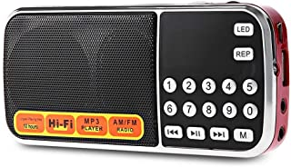 Audio Player Portable AM FM Radio Speaker Music Player with TF Card USB AUX Input,Red