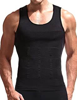Men's Compression Shirt Tummy Control Slimming Body Shaper Vest Workout Seamless Gynecomastia Undershirt