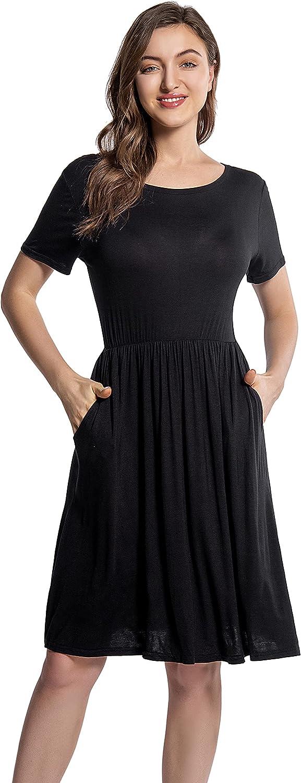 FARADOLE Women's Summer Casual Short Sleeve Dress A-line Swing Midi Dress with Pockets