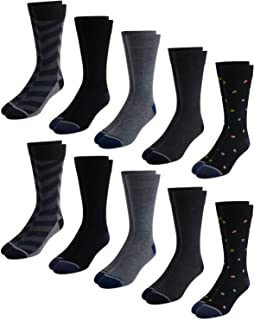 Nautica Men's Classic Crew Dress Socks with Reinforced Heel and Toe (10 Pack)