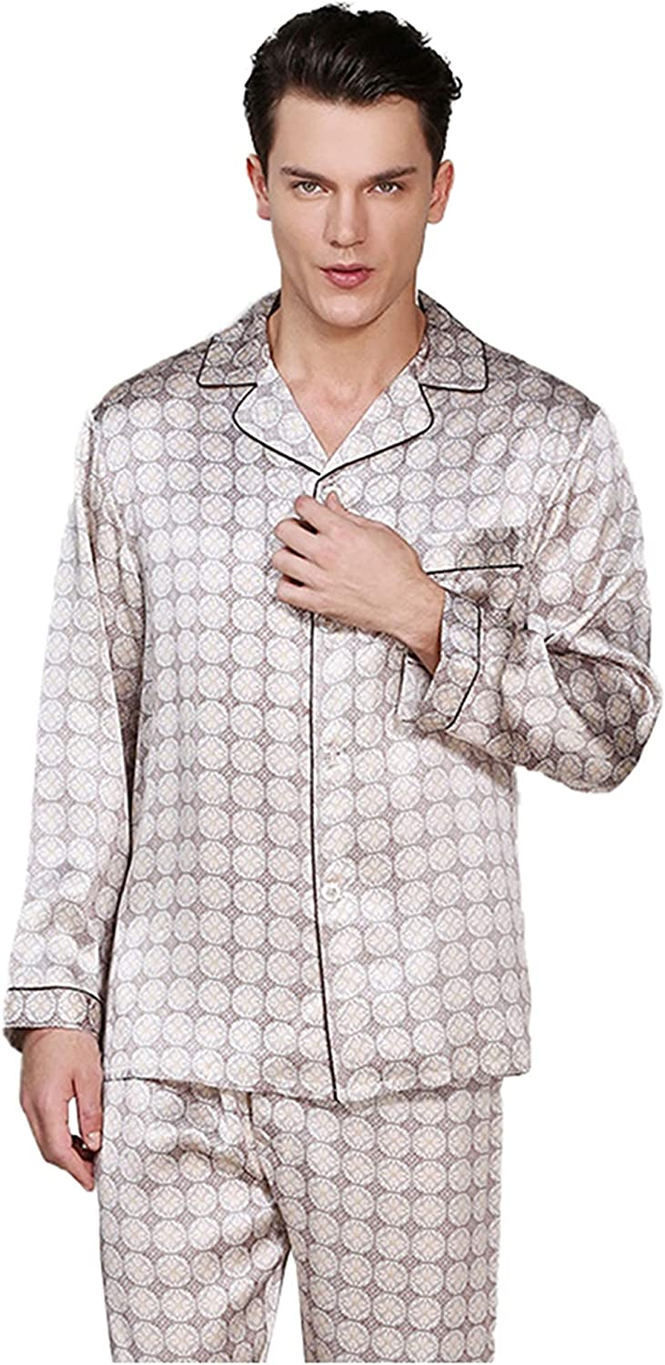 FMOGG Men's Sleepwear Nightgown 100% Silk Pyjamas Autumn and Winter Two-Piece Silk Pajamas Suit Spring Summer Long-Sleeved Trousers Plus Size Home Service