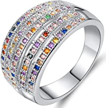 AJZYX Colored Crystals Dome Ring Multi Stones CZ Statement Wedding Promise Band for Girl Bridal Size 6-9