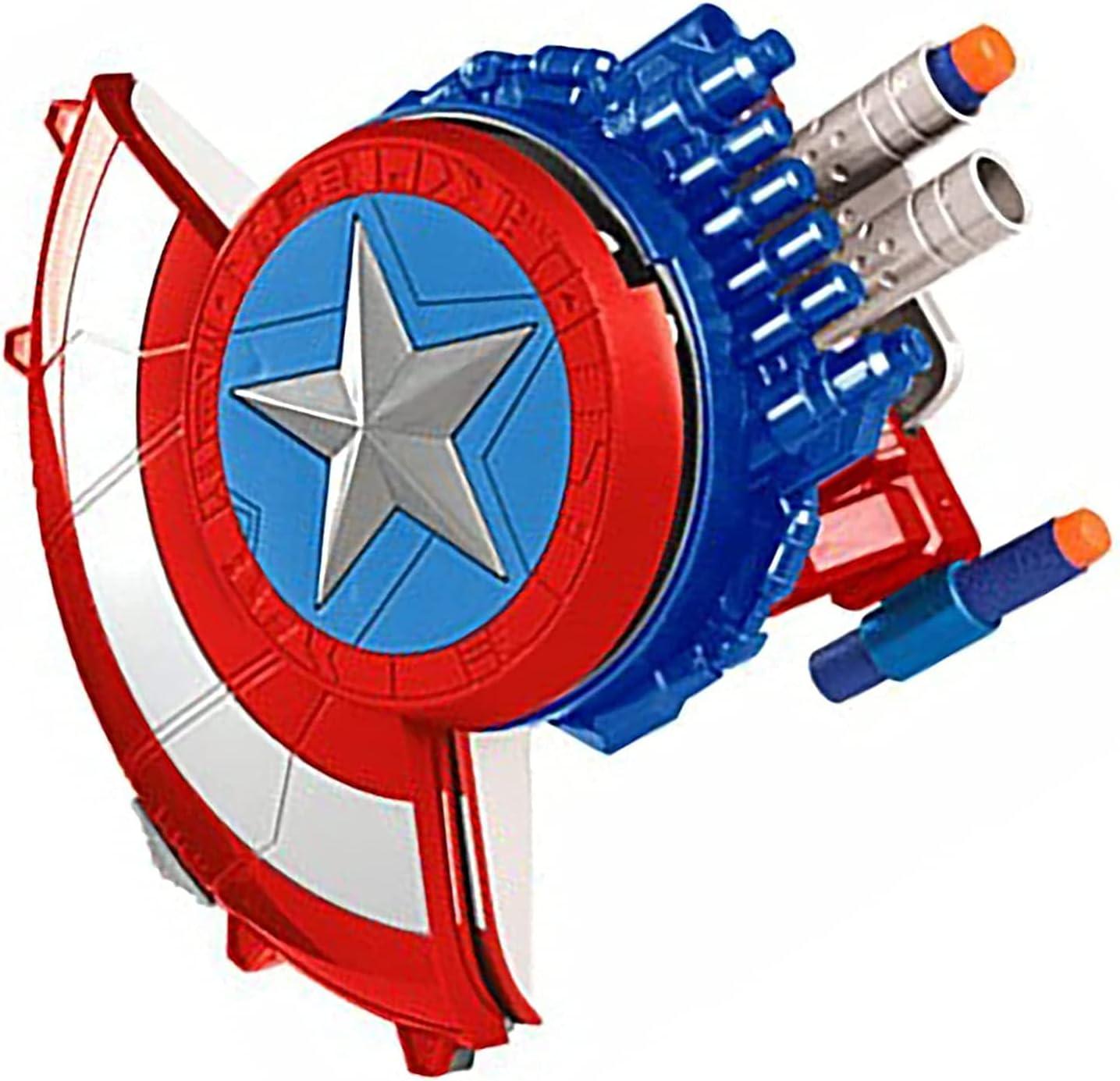 BDBT Marvel Avengers Series Capitán América Shield - Pistola Bomba de Juguete para niños - con 10 Bombas de Lanzamiento Suaves adecuadas para Cosplay Lanzador de Bombas, Regalos para niños