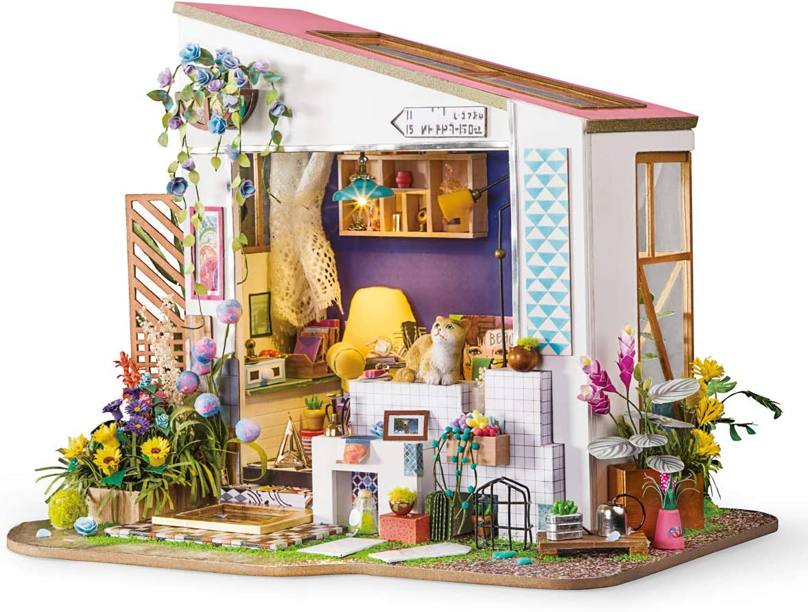 Rolife DIY Miniature Dollhouse Kit - 1/24 Scale Floral House with Cat Figurine, Gifts for Teens Grown-ups (Lily's Porch)