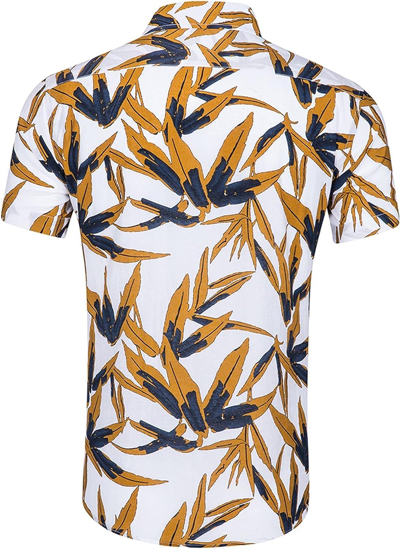 Men's Hawaiian Flower Shirts Aloha Printed Short Sleeve Button Down Cotton Shirt Summer Casual Tshirt Tops