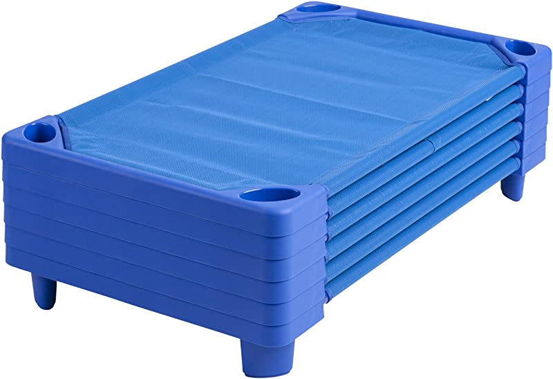 ECR4Kids Streamline Children S Naptime Cot Stackable Daycare Sleeping Cot For Kids 52 L X 23 W Ready To Assemble Blue Set Of 6