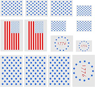 14 Pack Star Stencil,9 Pieces 50 Stars American Flag Template,3 Pieces 13 Star 1776 Stencil and 2 Pieces 2 in1 USA Flag Stencil for Painting on Wood, Fabric, Airbrush,Reusable Starfield(US Flag,14 Pc)