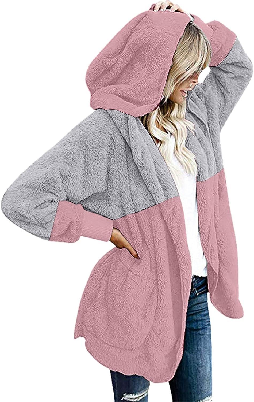 Misaky Women's Hooded Trench Coat Fuzzy Fleece Open Front Splicing Draped With Pockets Cardigan Coat