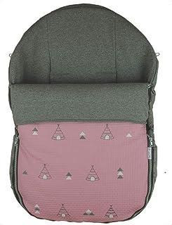 Rosy Fuentes - Saco de Capazo Grupo 0-10 x 50 x 60 cm - Color Rosa Empolvado - Poliéster y Algodón - Equipado para ser Ajustado - Saco Universal para Silla de Bebé Grupo 0