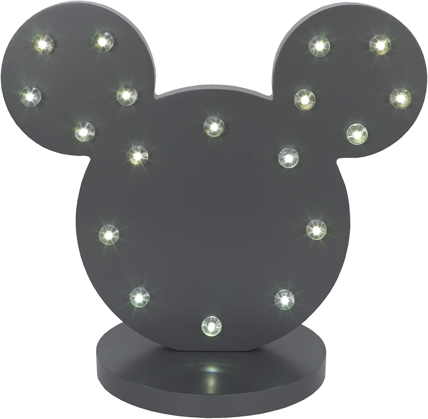Disney Mickey Mouse Standing Marquee Lighted Room Decor, Dark Grey Charcoal