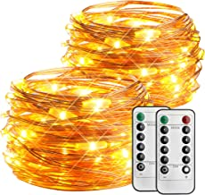 2 Pack Outdoor String Lights, 16ft 50 LED Battery Operated Fairy Lights Waterproof Twinkle Light with Remote Control Timer for Bedroom Christmas Parties Wedding Xmas Festival(8 Modes, Warm White)