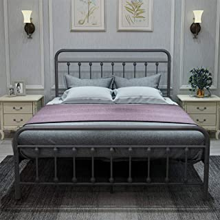 DUMEE Metal Bed Frame Full Size Platform with Vintage Headboard and Footboard Sturdy Premium Steel Slat Support Textured Black