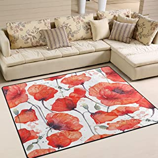 alaza Vintage Watercolor Poppy Flower Area Rug Rugs for Living Room Bedroom 7' x 5'