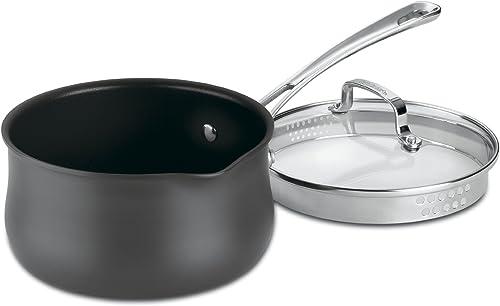 new arrival Cuisinart Contour Hard Anodized 2-Quart Pour Saucepan new arrival with outlet sale Cover,Black sale