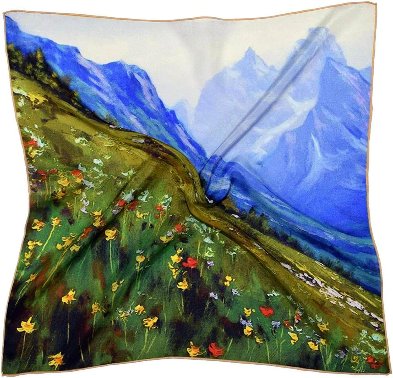 bluee Green Landscape Thick Small Silk Square Scarf