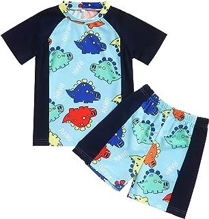 ملابس سباحة للأولاد الصغار والأطفال قطعتين ديناصور القرش المايوه راش للحماية من الأشعة فوق البنفسجية 50+