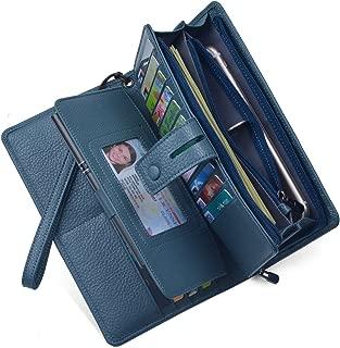 Women's Big Fat Rfid Leather Wristlet Wallet Organizer Large Phone Checkbook Holder with Zipper Pocket