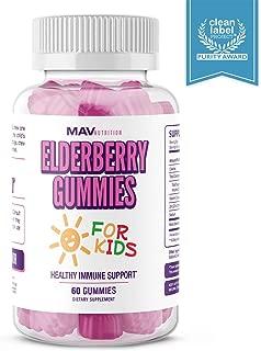 MAV Nutrition Elderberry Gummies Immune System Booster for Kids Vitamins with Vitamin C + Zinc Supplement + Echinacea, Non-GMO, Vegetarian Friendly, 60 Count