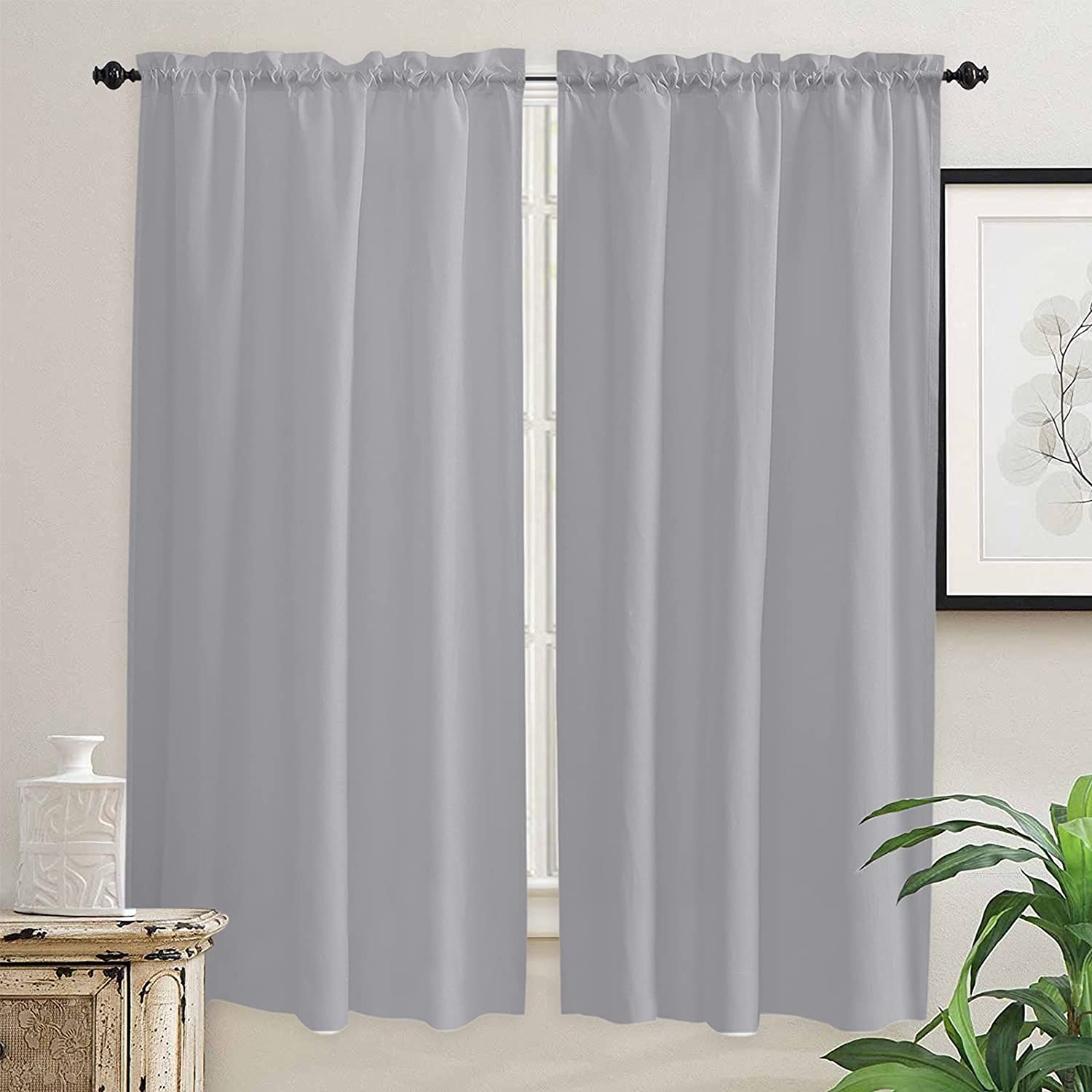 Jacksonville Mall Max 51% OFF Grey Solid Color Kitchen Curtains 72 for Length Inch Wi Windows