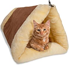 Cat Bed Cave House Bed - Beds Best for Indoor Cats Houses Heated Kitten Warm Pet Self Warming w/Hoods Caves Igloo Covered Pod Felted Faux Felt Wool Cocoon - 2-in-1 Fleece Tunnel Tube & Kitty Mat Pad
