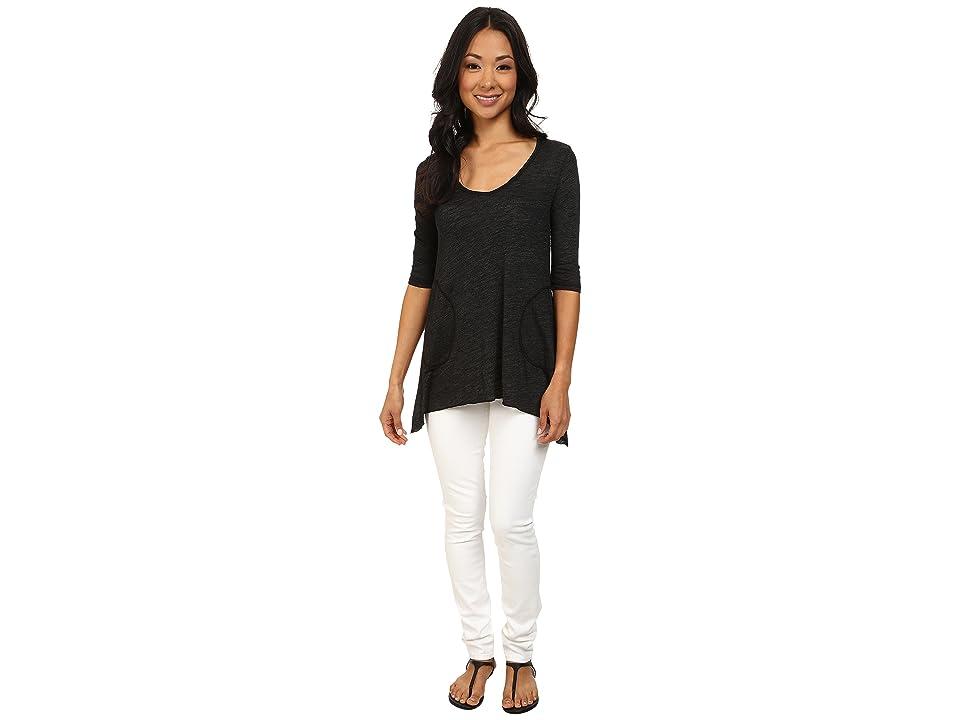 Allen Allen Slub Angled 3/4 Tunic (Black) Women's T Shirt
