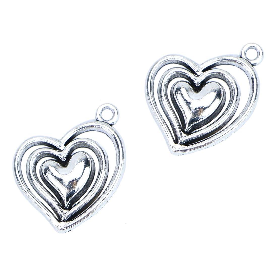 Monrocco 40 Pcs Antique Silver Hollow Filigree Heart Charm Pendants for Bracelets Jewelry Making dwoibxloybn871