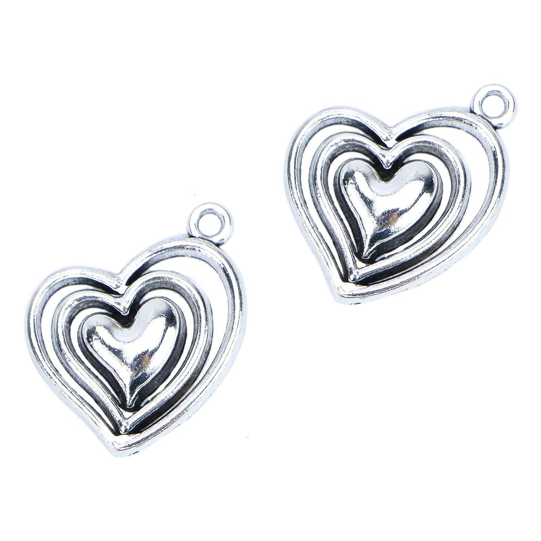 Monrocco 40 Pcs Antique Silver Hollow Filigree Heart Charm Pendants for Bracelets Jewelry Making