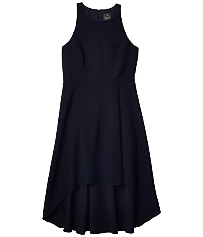 Adrianna Papell Pleat Detail High-Low Crepe Dress (Blue Moon) Women