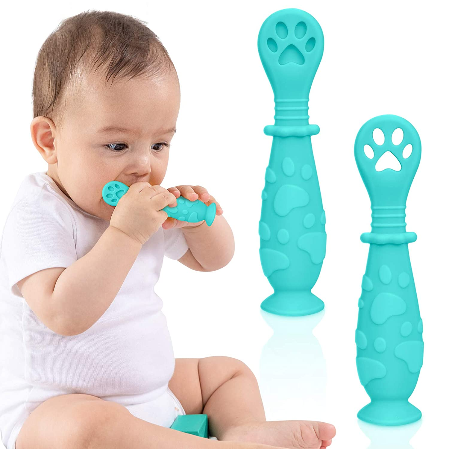 TitaCare BPA Free Silicone Baby Spoon Set for First Stage Self Feeding | 2-Pack Pre Spoon Utensil | Toddler Utensils for Baby Led Weaning (Blue)