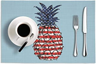 Patriotic Pineapple America Flag PVC Heat-Resistand Placemats Non-Slip Woven Vinyl Placemats Dining Table Mats for Kitchen Table Set Of 2