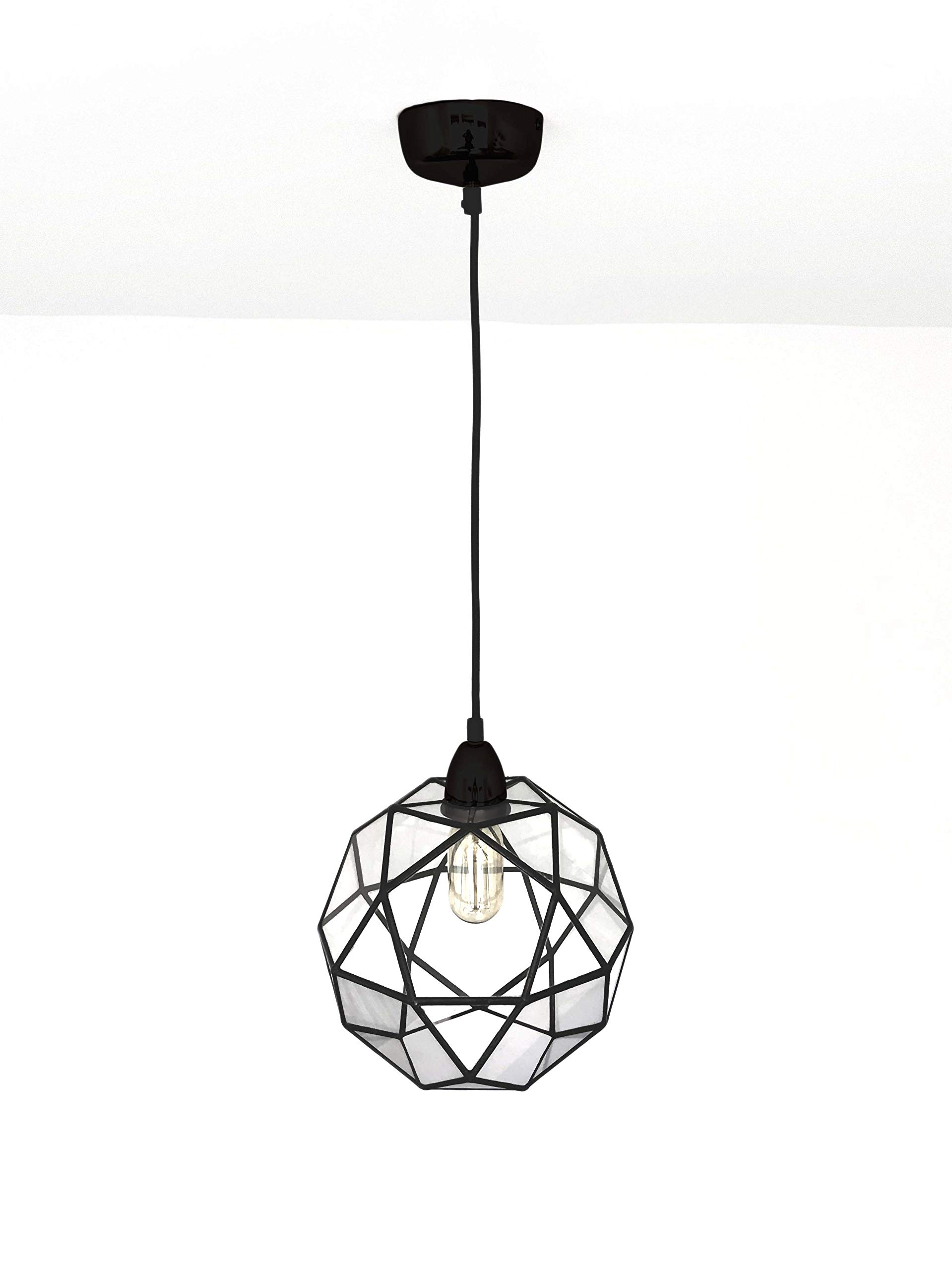 Icosidodecahedron ChandelierGeometric Glass Light PendantHandmade in England (Medium, Black)