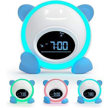 HHCYY R/éveil Enfant Cheval Wake Up Light Alarm Clock Num/érique 7 Led /À Changement De Couleur Lumi/ère De Nuit Lumineuse Led Cube R/éveil Lumi/ère Up (A334)