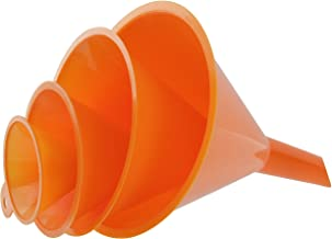 RAM-PRO 4-Piece All Purpose Wide-Mouth Bright Orange Plastic Funnel Set for Quick and Clean Transferring Liquids, Dry Good...