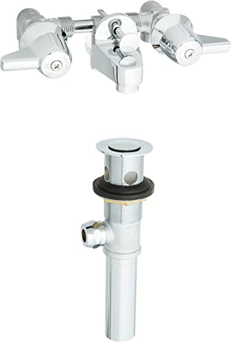 discount Central online sale Brass 1177-DA Two Handle Shelf Back Bathroom discount Faucet in Chrome sale
