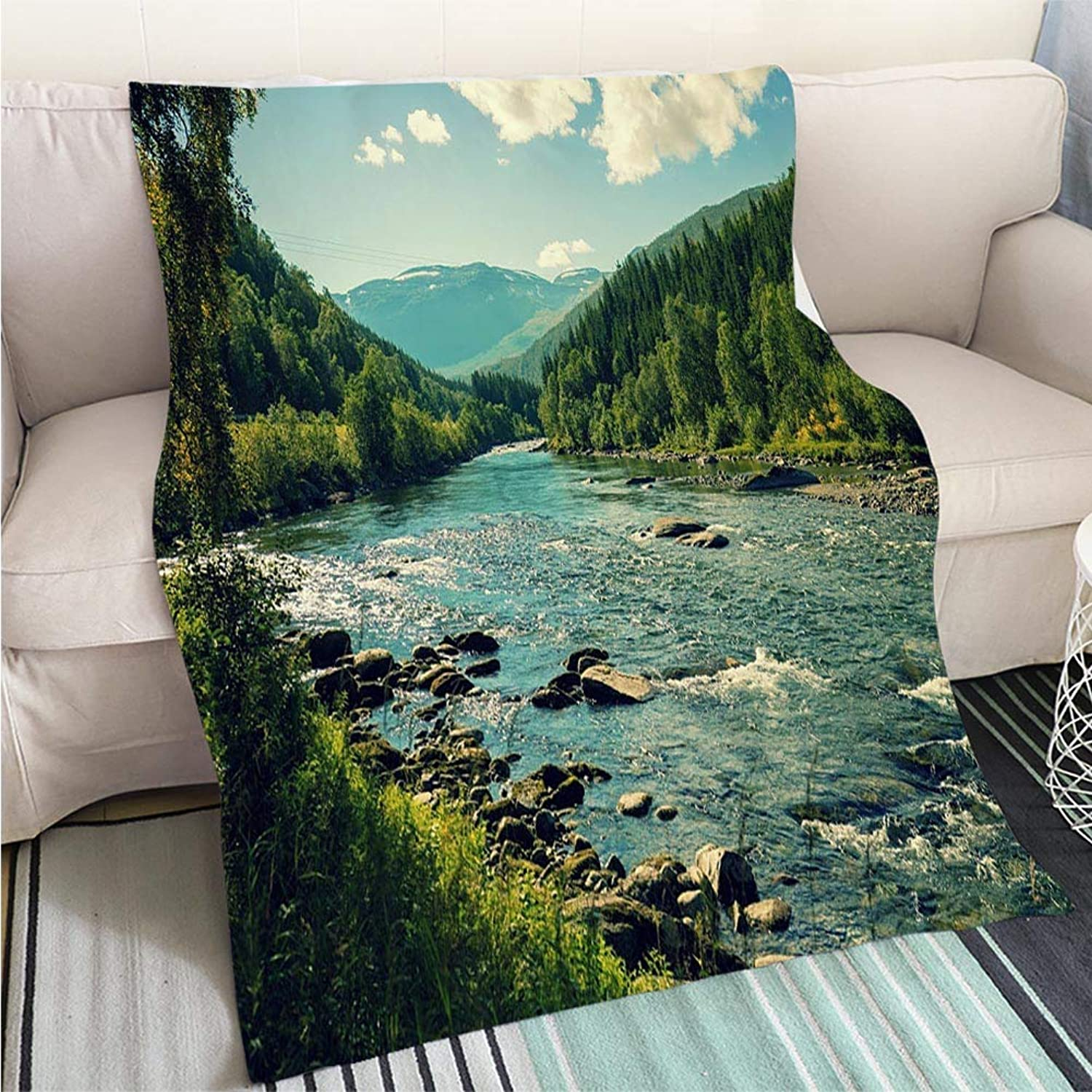 BEICICI Comforter Multicolor Bed or Couch Mountain River in Autumn Norway Art Blanket as Bedspread gold White Bed or Couch