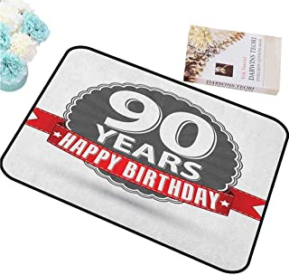 HCCJLCKS Interior Door mat 90th Birthday Retro Style Label with Red Ribbon and Vintage Emblem Stars Classical Add Color W16 xL24