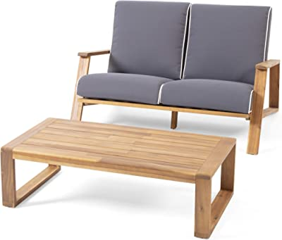 Christopher Knight Home 312485 Eartha Outdoor Loveseat Set with Coffee Table, Teak Finish, Dark Gray